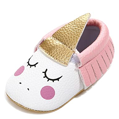 a7acd311596d Highpot Baby Girls Non-Slip First Walkers Tassel Golden Angle Unicorn Crib  Shoes (0