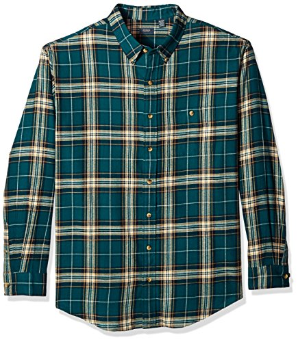 Arrow Men's Big and Tall Long Sleeve Plaid Flannel Shirt, deep Teal, 2X-Large (Teal Plaid Flannel)