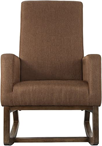 Homedex Retro Modern Fabric Comfortable Single Rocking Chair,Brown