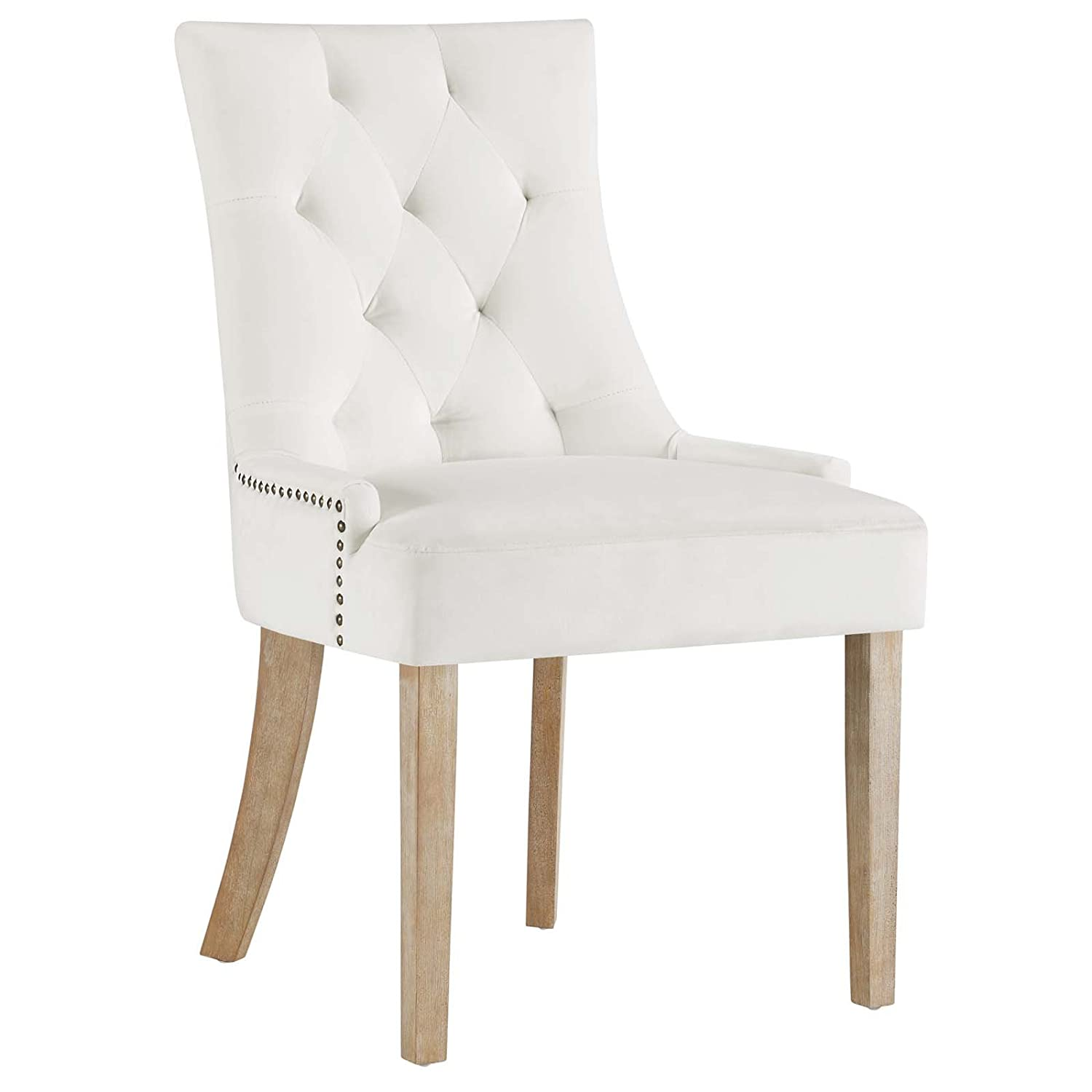 Modway Pose Velvet Polyester Upholstered Tufted Dining Chair With Nailhead Trim, In Ivory