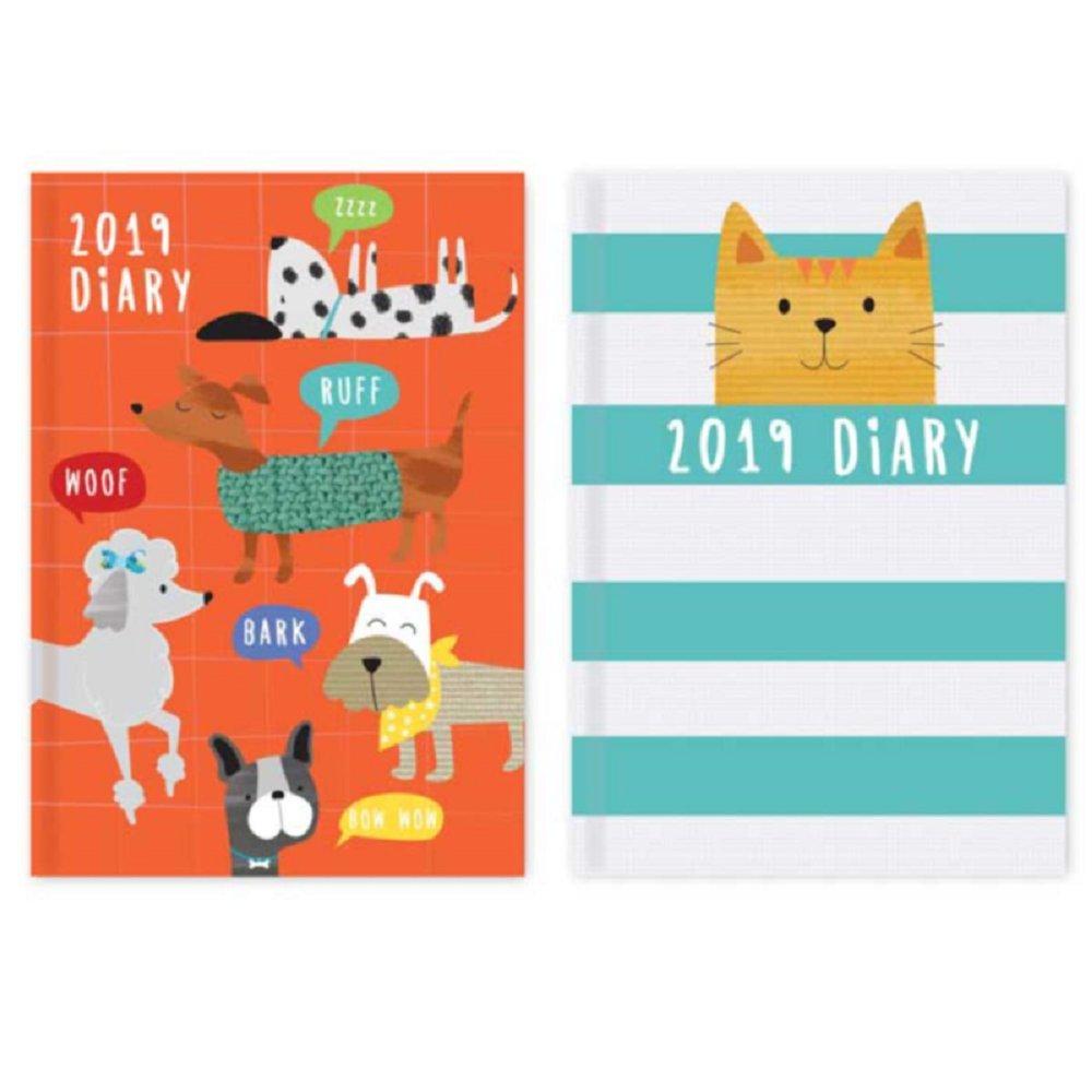 Agenda 2019 A6 diseño de gato y perro, semana a la vista, regalo nuevo.: Amazon.es: Oficina y papelería