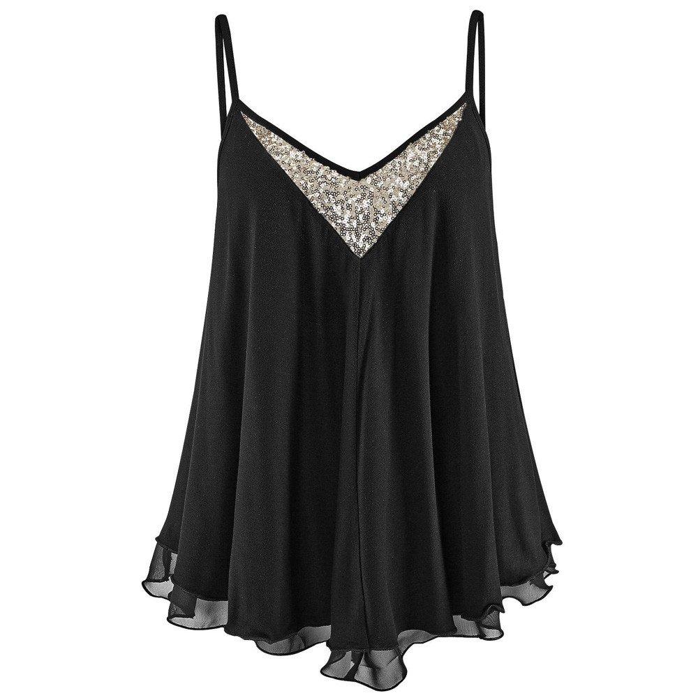 Chiffon Blouses for Womens Sale Sequins V Neck Vest T-Shirt Ladies Summer Tank Tops Cami Top Black