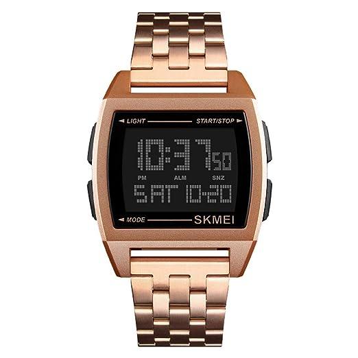 Reloj Hombre Contraluz Cuenta Atrás Cronógrafo Digital Impermeable Business - Oro Rosa: Amazon.es: Relojes