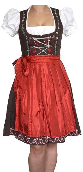 e803141046fa0 German Wear 3-teiliges Midi-Dirndl-Set Dirndel Dirndlbluse Dirndlschürze Rot