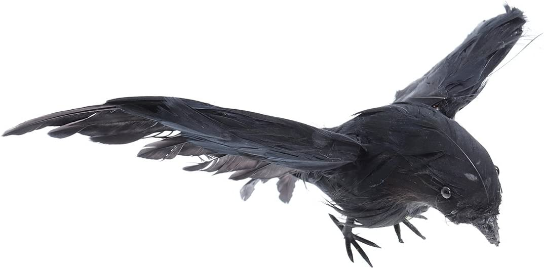 Amosfun Halloween Artificial Black Raven Crow Feather Birds Flying Black Raven Halloween Props Party Bar Decoration