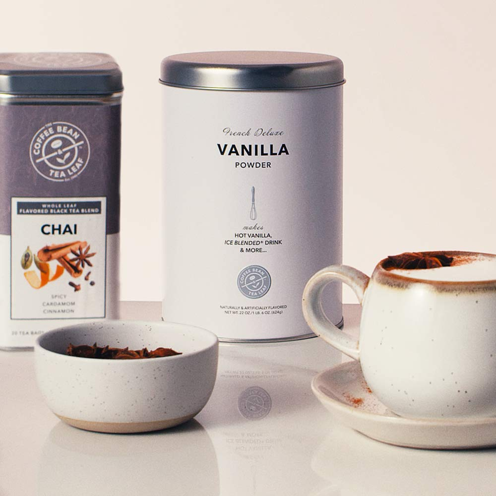 The Coffee Bean & Tea Leaf Vanilla Powder for Coffee and Tea and Chai Black Tea Tin Bundle