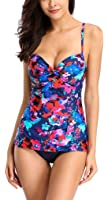 Alove Women's Tankini Sets with Shorts Floral Swimwear Beachwear Two Piece Swimsuit