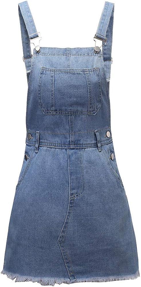 ShiFanA Salopette Gonna Donna Corti di Jeans Jumpsuit Loose Distressed Denim Vestito Overall con Tasca