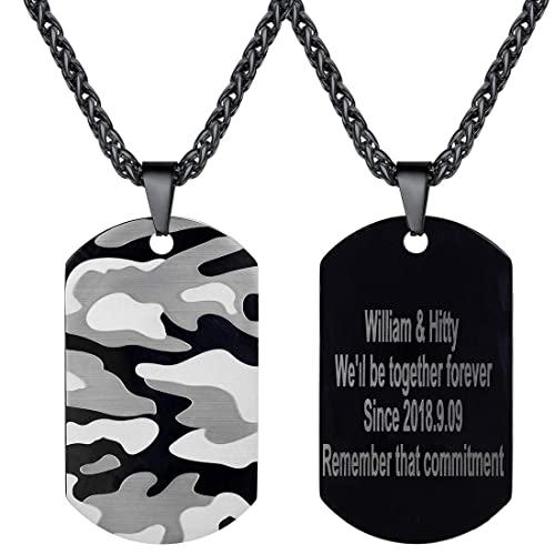da3a55511b687 U7 Personalized Men Army Fan Camouflage Dog Tags Necklace Black Rope Chain  Back Side Text Engraving