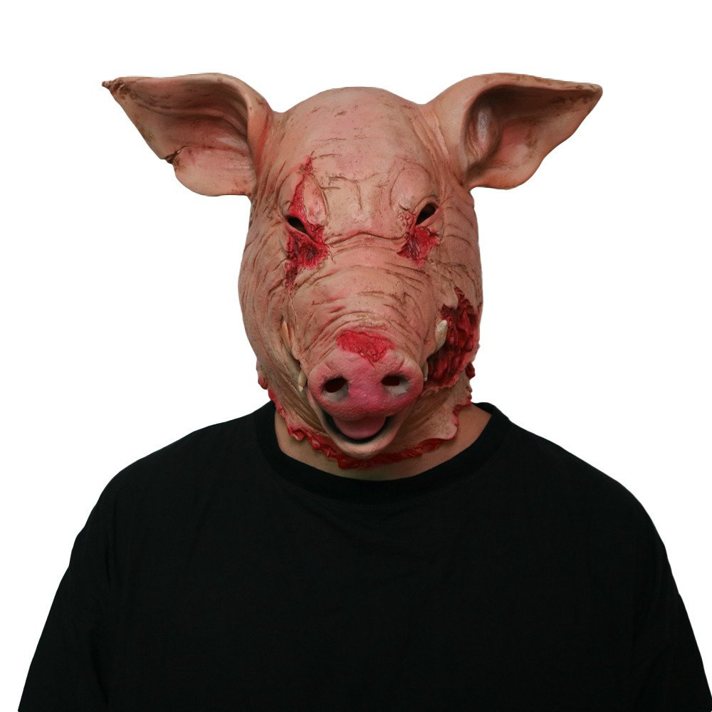 Halloween Scary Mask Horror Mask Masquerade Pig Head Mask Animal Cosplay Costume The Latex Mask by HAOSUN