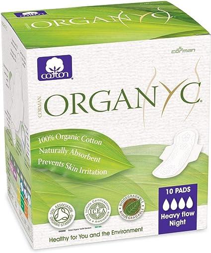 Organyc - Compresas de noche con alas plegadas, 10 unidades: Amazon.es: Belleza
