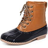 Chenghe Women's Duck Boots Lace Up Two Tone Waterproof Rain Duck Boots