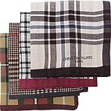 Leevo Handkerchief Men Assorted Woven Cotton 100% Hankies Fashion 4pack Bulk Value Pack (17.5inch 4pack bulk no.1 - 4th ver.)
