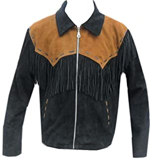 LEATHERAY Mens Fashion Arrow Real Leather Motorbike Jacket Brown and Black