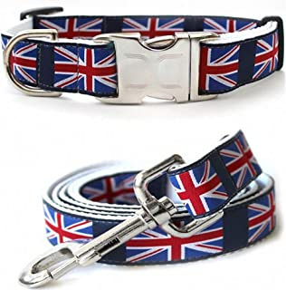 "product image for Diva-Dog 'London Calling' Custom Medium & Large Dog 1"" Wide Dog Collar with Plain or Engraved Buckle, Matching Leash Available - M/L, XL"