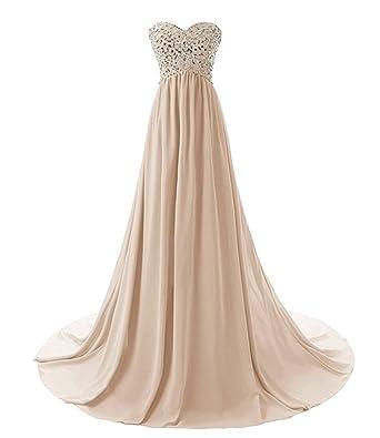 macria Womens Long Beaded Stapless Bridesmaid Prom Dress Size 6 Champagne
