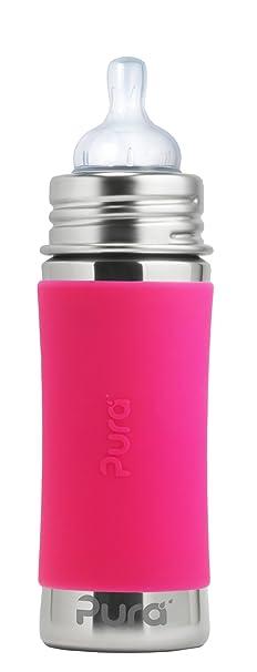 Pura Kiki - Biberón de acero inoxidable (325 ml) rosa