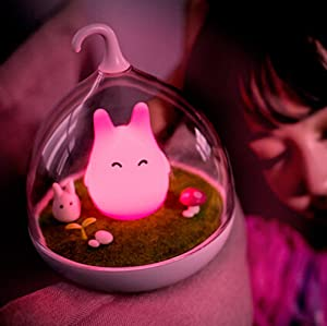 WOMHOPE Children's Night Lights Rechargeable Hand-held Design Tap Sensor Vibration Cage Lamp Night Lights for Kids, Baby,Valentines Gift,Outdoor Lamp (Pink Bunny)