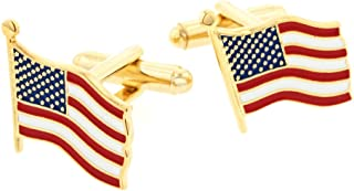 product image for JJ Weston American Flag Cufflinks. Made in the USA.