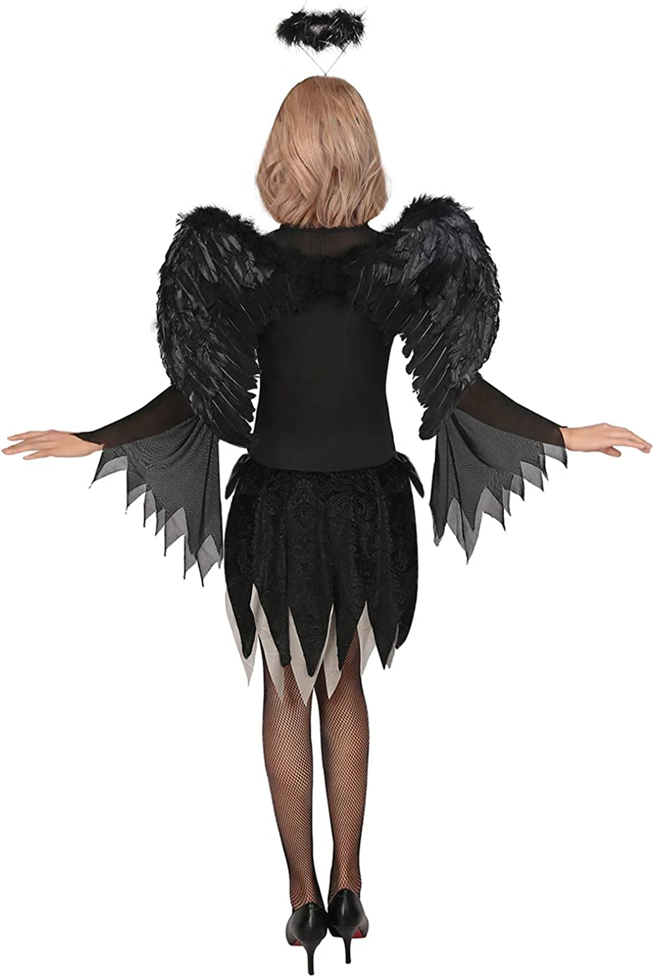 LADIES EVIL FAIRY COSTUME WITH WINGS HALLOWEEN FANCY DRESS BOOK MOVIE CHARACTER