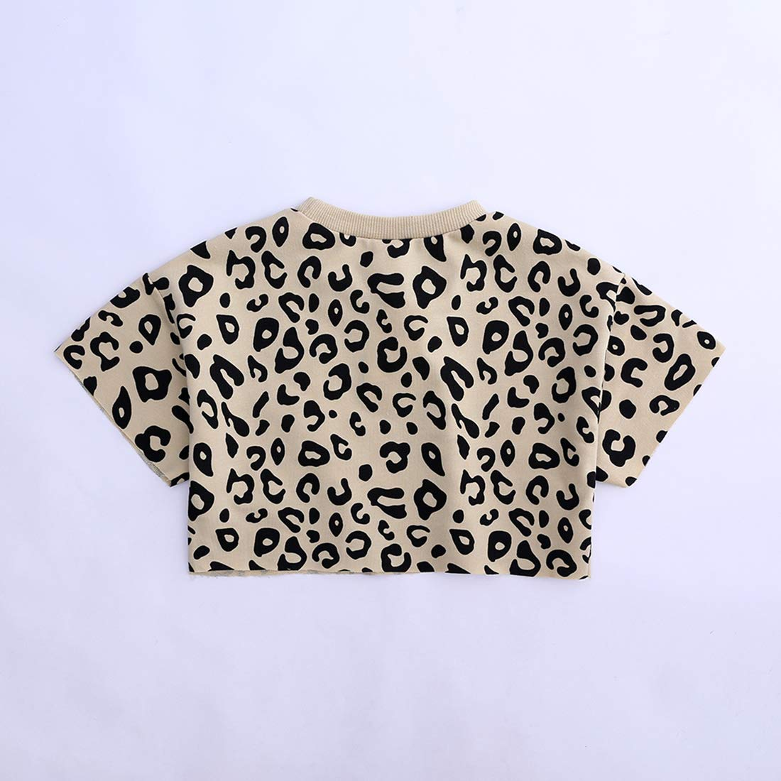 Cute Girls 2Pcs Leopard Outfits Set Summer Short Sleeve T-Shirt Shorts Clothes