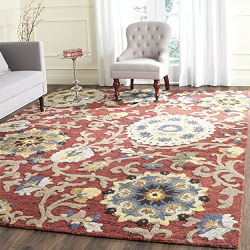 [Safavieh Blossom Collection BLM401C Handmade Floral Vines Red and Multi Premium Wool Area Rug (5' x 8')] (Vine Wool Area Rug)