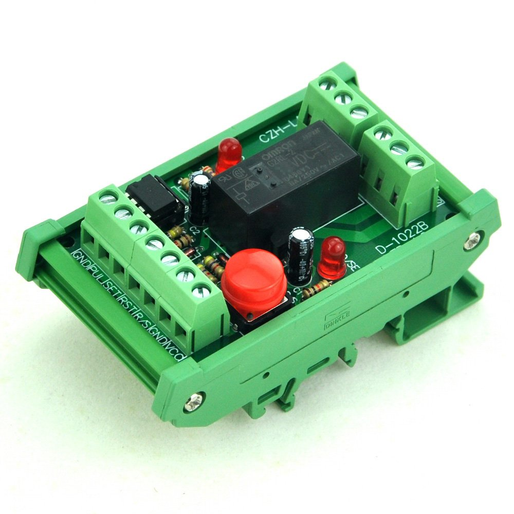 ELECTRONICS-SALON DIN Rail Momentary-Switch/Pulse-Signal Control Latching DPDT Relay Module, 24V