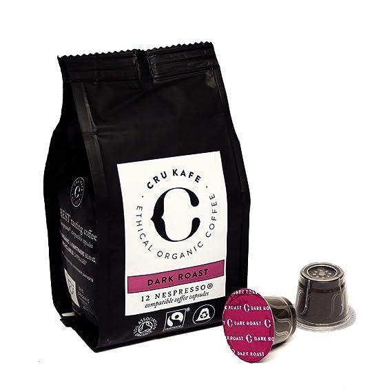 CRU Kafe Capsulas de Café Orgánico Compatibles con Máquinas Nespresso - Tostado fuerte (48 capsulas