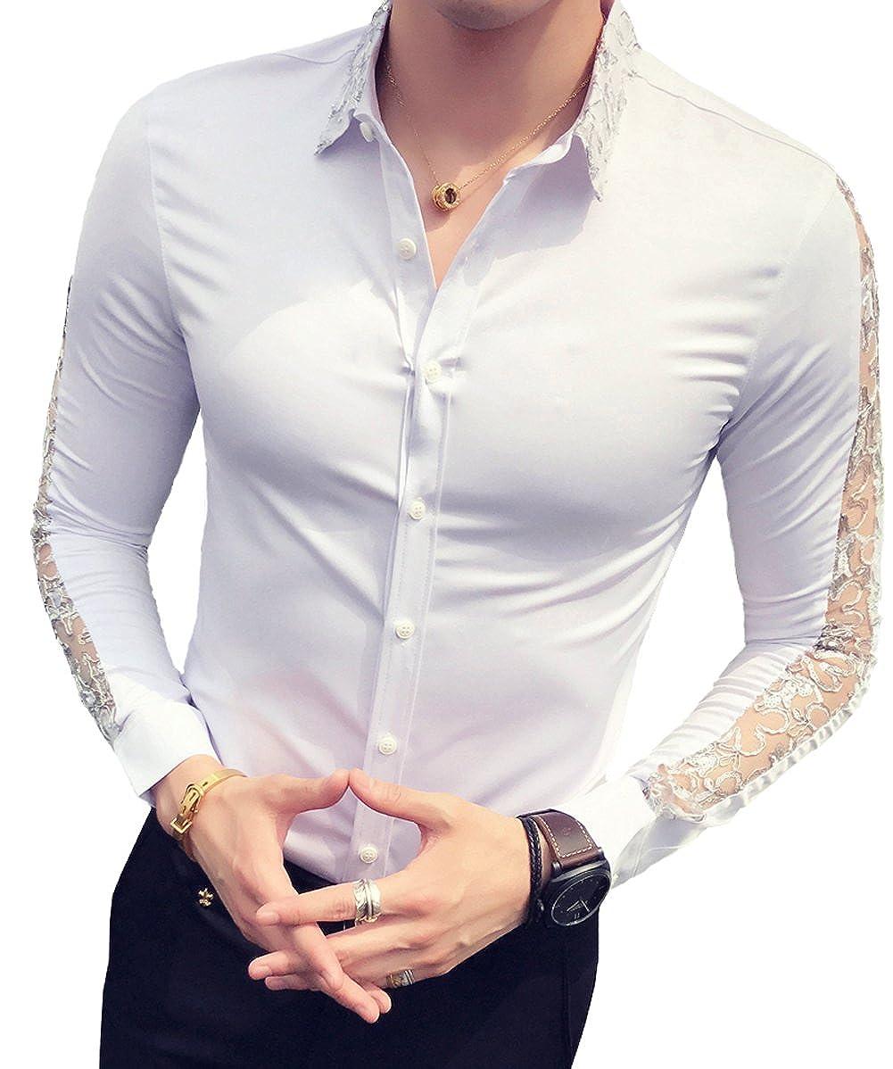 cb54b22080a72 Ouye Camisas Manga Larga Slim Fit Ocasionales para Hombre  Amazon.es  Ropa  y accesorios