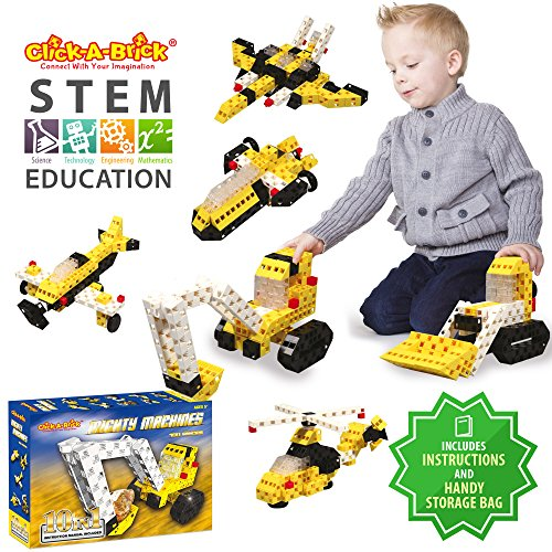 click a brick mighty machines 100pc building blocks set best stem toys for boys girls age 5 6 7 year old kids 3d creative puzzle fun top educational