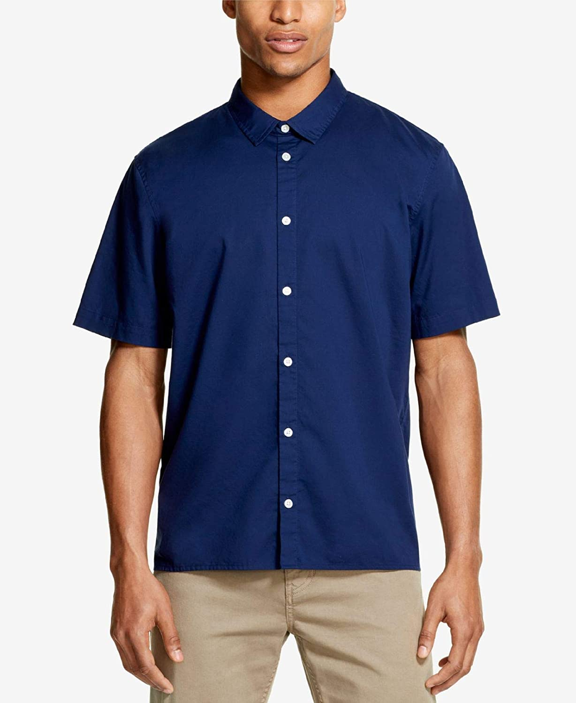 DKNY Medieval Mens Medium Solid Woven Button Down Shirt