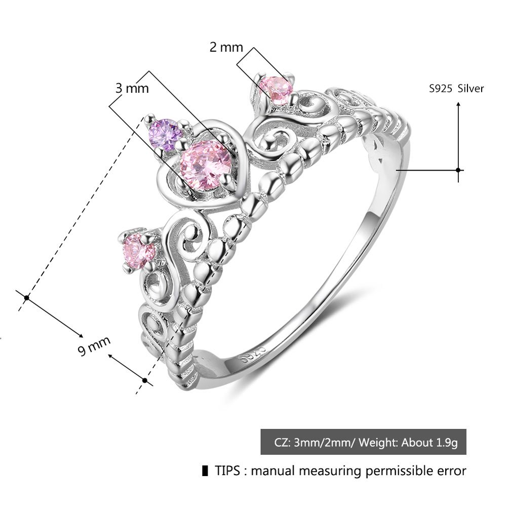 PHOCKSIN Engagement Rings 925 Sterling Silver Wedding Anniversary Promise Ring Bridal Princess Crown Cut (7) by PHOCKSIN (Image #2)