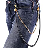 Men Jeans Chain Rock Hip Hop Punk Men Motorcycle Pant Trousers Chain Skull Design Men Fashion Accessories 2 Layer Cool 18K Gold Plated Jean Chain Key Chain