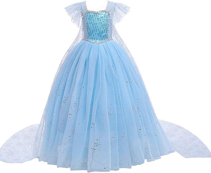 Disfraz de Princesa Elsa Aurora Cenicienta para niñas con Perlas ...