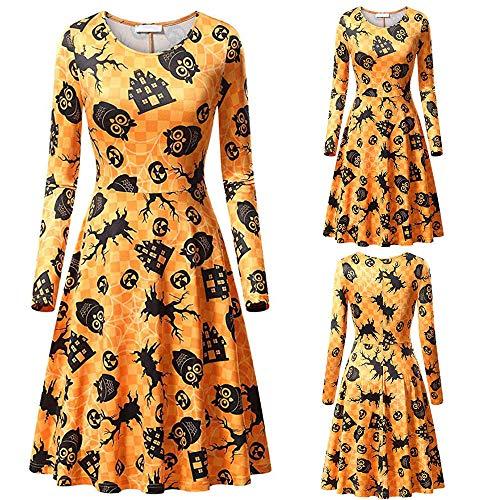 MEANIT Womens Halloween Dresses, Casual Dress, Long Sleeve Dress