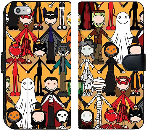 Liili iPhone 6 Plus and iPhone 6S Plus Flip Micro Fabric Wallet Case Seamless Pattern Made of Illustrated Kids in Halloween Costumes Image ID -