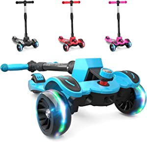 6KU Kids Scooter with Adjustable Height, Toddler Scooter with Widened Flash Wheels, Scooter for Kids Age 3-8 Years Old, Lean to Steer