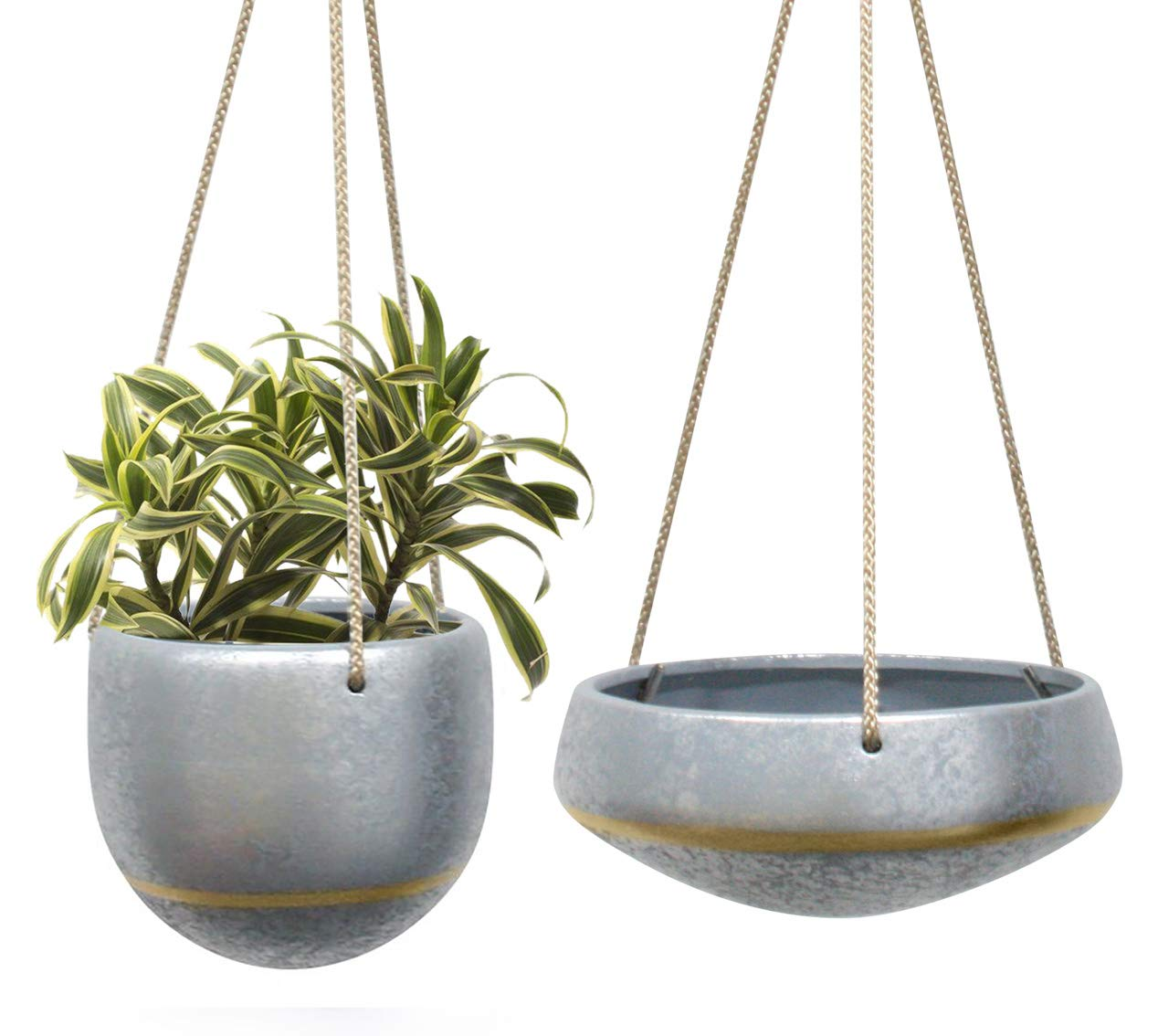 "Hanging Planters Flower Plant Pot - Silver Galvanized Ceramic Shallow 8"" & Deep 6"" Herb Ivy Succulent Planter Indoor with Gold Accent, Home Decor Gift, Set of 2"
