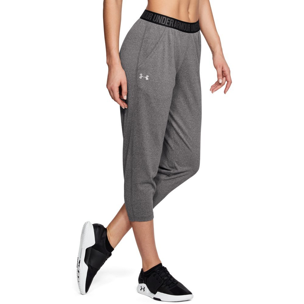Under Armour Women's Play Up Capris, Carbon Heather (090)/Metallic Silver, X-Small