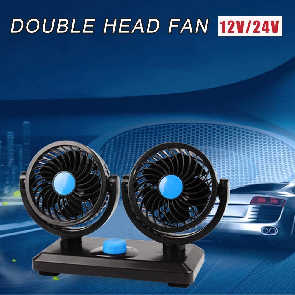 dewdropy Ventilateur De Voiture 12V 24V Camion Universel Double T/ête Puissant Ventilateur /Électrique De Refroidissement Ventilateur Puissant Vent 360 Degr/és Rotatif