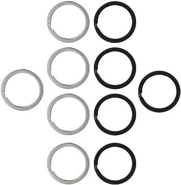 Vpsan Split Ringe Schlüsselanhänger Ringe Metall Schlüsselringe Metallringe Für Auto Haus Schlüssel Zubehör 25 Mm Schwarz Und Silber 10 Stück Auto