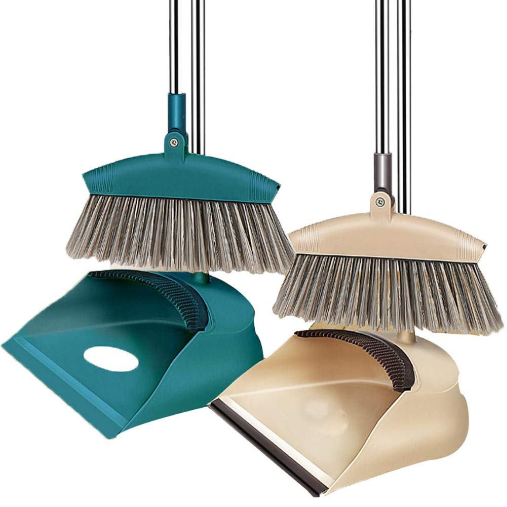 broom dustpan set combination with a scrub brush soft hair magic for sweeping household cleaning kit steel metal handles scraping home kitchen room office stand up and dust pan cleans Comaie®
