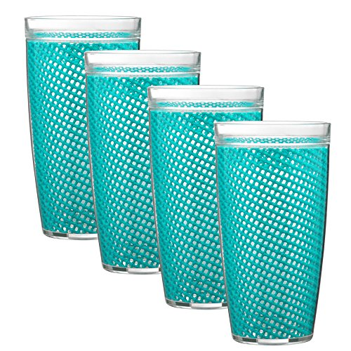 Kraftware The The Fishnet Collection Doublewall Drinkware, Set of 4, 22 oz, Teal