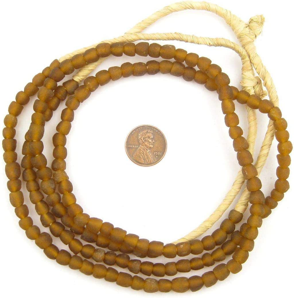 RCY-RND-GRN-1038 Frosted Eco-Friendly Boho Ghana Krobo Round Rustic Ethnic Handmade Strung Huge 27 Super Jumbo Green Recycled Glass Beads