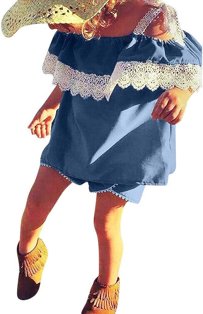 Tops de Encaje de Volantes Ropa Bebe Ni/ña Verano Fossen para Recien Nacido 6 Meses a 4 a/ño Pantalones Cortos de Mezclilla 2PC//Conjuntos