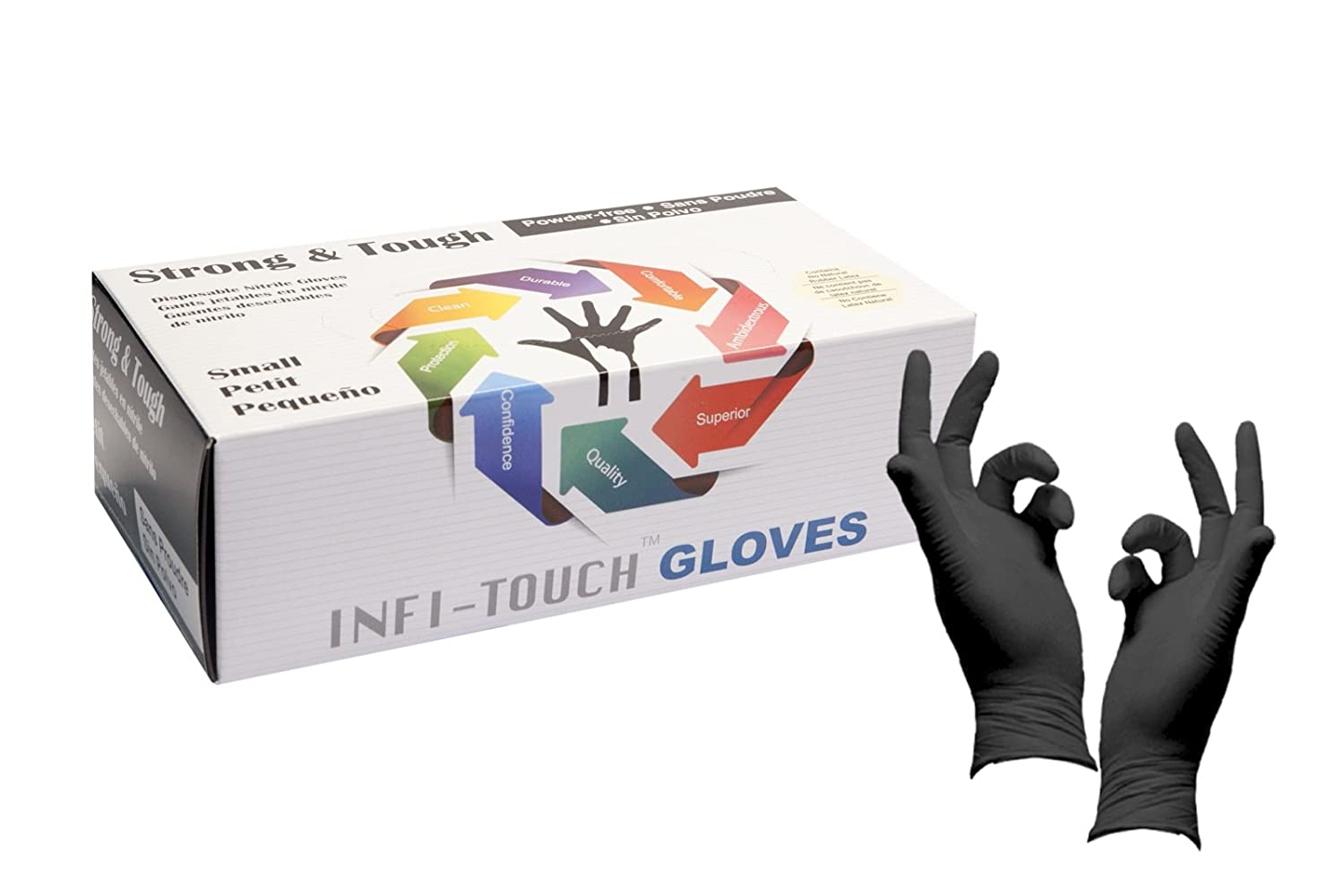 Infi-Touch Heavy Duty Nitrile Gloves, Strong & Tough, High Chemical Resistant, Disposable Gloves, Powder Free, Non Sterile, Ambidextrous, Finger Tip Textured, Dispenser Pack of 100, Size Small
