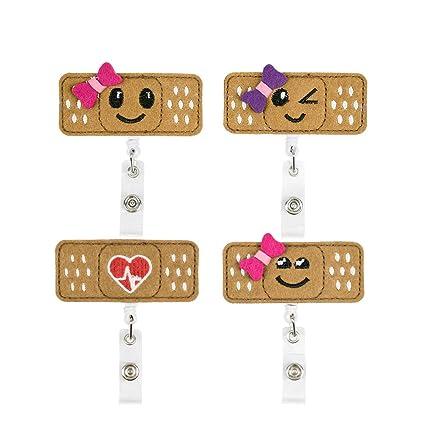 Nurse Badge Reel Holder-Felt Badge Reel for Nurses,Students&Teachers-Cute  Bandage&Smile ID Badge Holder (4 Pack)