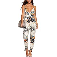 ZIUMUDY Women's Spaghetti Strap Floral Print Sleeveless Summer Beach Jumpsuits Rompers