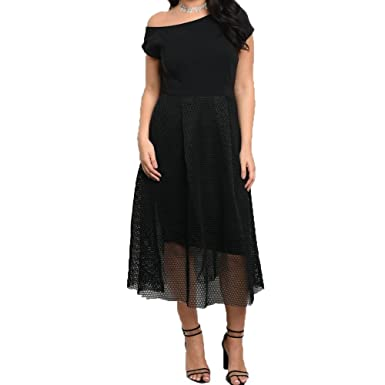 c15fa4d5b3f Red Dot Boutique Plus Size Dress Short Sleeve Mesh Skirt at Amazon ...
