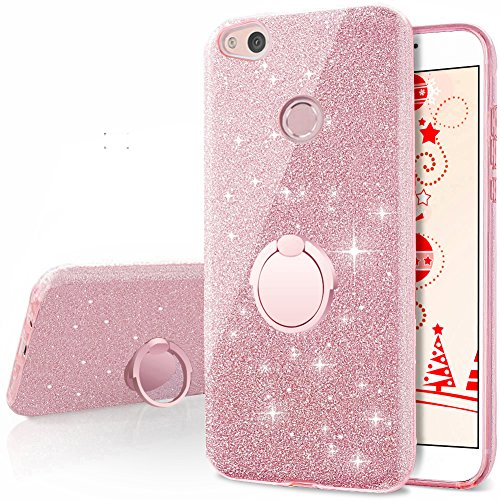 Cheap Huawei P8 Lite 2017 Case, Silverback Girls Bling Glitter Sparkle Cute Phone Case With 360 Rotating Ring Stand, Soft TPU Outer Cover + Hard PC Inner Shell Skin for Huawei P8 Lite 2017 -Rose Gold